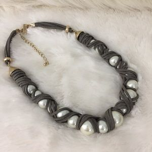 INC Faux Leather-Wrapped Pearl Necklace Boho